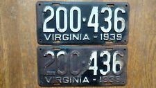 1939 Virginia License Plates Tags Pair VA