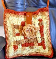 Handmade Bag Crocheted Front 11x11 inch r shoulder cross body handel beige brown