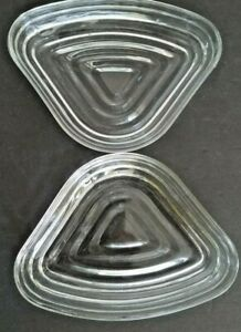 2 Vintage Anchor Hocking Manhattan Clear Triangle Relish Inserts Nice!