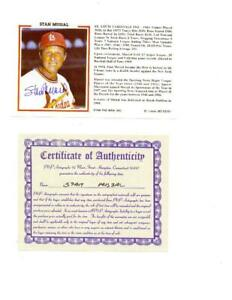 Stan Musial signed publicity card 6x3.5 color w/COA.