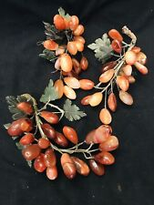 VINTAGE Red Brown Yellow Set Of 3 GRAPE CLUSTER (s) Stone Marble Alabaster Jade