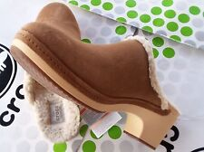 CROC SARAH LINED COBBLER SUEDE HEEL~BUSY DAY NERIA~CLOG SANDAL~Brown Tan~W 7~NWT