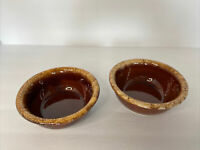 """Vintage Hull USA Brown Drip Pottery Oven Proof 5.25"""" Cereal /Fruit Bowls,EUC BR1"""