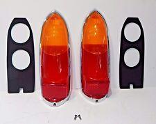 New Pair Lucas Tail Lamp Lens Set + Chrome Rims Gaskets MGB 1963-69 Euro Amber