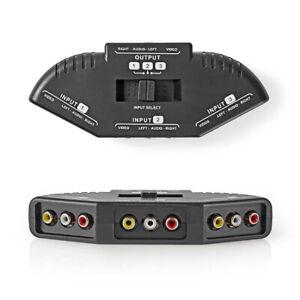 3-Fach AV Audio Video Umschalter Splitter Analog Composite RCA Cinch Verteiler