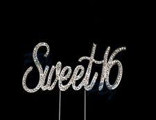 Sweet 16 Birthday Cake Topper Silver Crystal Monogram Free Ship