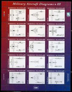 MARSHALL ISLANDS MILITARY AIRCRAFT DIAGRAMS SCOTT #1098 MINIATURE SHEET MINT NH