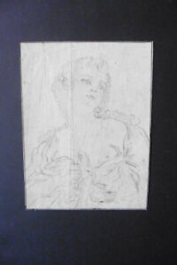FRENCH SCHOOL 18thC - PORTRAIT OF A NUDE LADY AND TWO PIGEONS - CHARCOAL