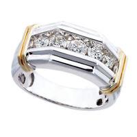Herren Strass Eingelegt Zwei Ton Finger Ring Hochzeit Party Modeschmuck Super
