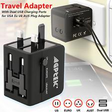 Universal Wall Charger 2 USB AC Power Plug Converter US EU UK AU Travel Adapter