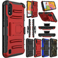 For Samsung Galaxy A01 Phone Case Hybrid Belt Clip Holster Kickstand Armor Cover