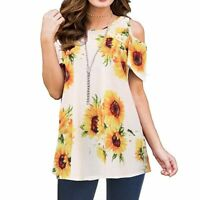 ladies floral tops womens blouse t shirt casual Summer crew neck loose