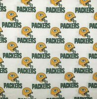 """NFL GREEN BAY PACKERS WHITE Cotton Fabric by the 1/4,1/2,Yard, 58""""W for Mask"""