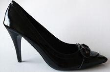 Escarpins 38 NOIR VERNIS Chaussures à Talons de 10cm Boucle Glamour Soirée sexy.