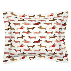 Doxie Dog Pet Animal Weiner Dogs Dachshund Happy Pillow Sham by Roostery