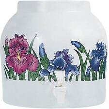 Goldwell Designs® Colorful Iris Flower Porcelain Water Dispenser Crock (DD036)