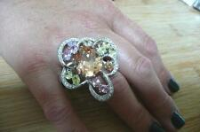 SPARKLING BIG MULTI COLOURED CUBIC ZIRCONIA 925 STERLING SILVER RING SZ Q 8.5