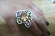 SPARKLING BIG MULTI COLOURED CUBIC ZIRCONIA 925 SILVER RING SZ R1/2 US 9.25
