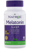 Natrol 3mg 100 Tablets Stress Anxiety Sleep Fall Asleep Faster & Longer