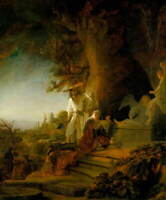 Rembrandt Christ and St Mary Magdalen at the Tomb Poster Giclee Canvas Print