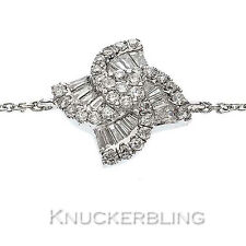 Round Brilliant & Baguette Diamond Cluster Bracelet 0.40ct F VS 18ct White Gold