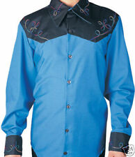 MENS BLUE COUNTRY WESTERN COSTUME EMBROIDERED SHIRT WILD WEST COWBOY RODEO SZ SM