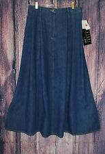 NEW Signature By Jerell Denim Skirt Size 14 Modest Long Maxi Cotton Side Slits