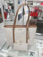 NWT MICHAEL KORS SADY LG LEATHER TOTE BAG & DOUBLE ZIP WALLET VANILLA