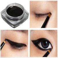 Waterproof Black Eye Liner Eyeliner Shadow Gel Cosmetic + Brush Makeup Tool