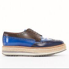 PRADA cobalt blue brown leather wingtip brogue espadrille platform shoe UK6 EU40