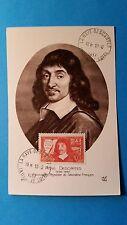 FRANCE CARTE MAXIMUM YVERT 341 DESCARTES PHILOSOPHE 90C LA HAYE 1937 L 149