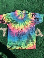Vintage 90s Liquid Blue Elephant All Over Print T Shirt Single Stitch Mens L AOP