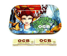 OCB Small Artist Tray & 2 Organic Hemp Rolling Papers Single Wide NEW bundle RYO