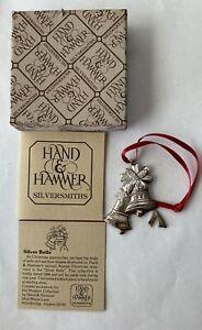 Vintage Hand & Hammer Sterling Silver Silver Bells Ornament 1988 Original Box