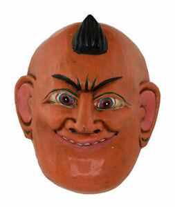Petit Masque orange népalais rituel cérémoniel Chamanique Protecteur Tibet 879