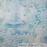 BonEful Fabric FQ Cotton Quilt VTG Blue Toile Flower L French Country Word Dance