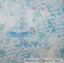 BonEful Fabric Cotton Quilt Blue Flower Ballet French Country Word Girl 99 SCRAP