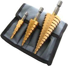 3 PZ HSS passo cono Trapano Titanio Foro Bit Set Cutter + Astuccio blu