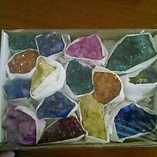 Dyed Colored Amethyst Uruguay Geode small rough cluster Crystal Box Collection