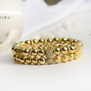 2Pcs Luxury Men's Gold Plated Clear Zircon Crown & Balls King Bracelets Jewelry