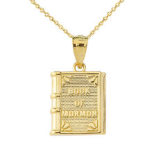 Solid Gold The Book of Mormon Pendant Necklace In (Yellow White Rose)