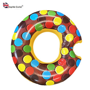 """48"""" Giant Donut  Swimming Ring Inflatable Water Float Pool Lounger Fun Beach UK"""
