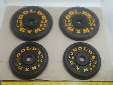 Lot of 4 Gold's Gym Cast Iron Weight Plates 2 @ 10 lbs & 2 @ 5 lbs