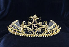 """Crystal Rhinestones Sweet 15 Quinceanera Gold Plated Tiara With Combs. 2"""" Tall"""