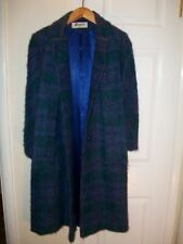 Vintage Bromley Petite winter Coat blue green purple built in scarf wool winter