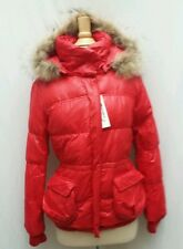 NEW Womens XL 70% Down Quilted Red Coat Jacket Puffer Real Fur Trim Hooded