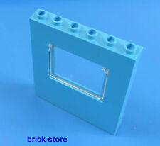 LEGO ca. 1x6x7 Pannelli blu turchese/Finestra con vetro/Pareti/Colonna/1 Pezzo