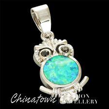 Cute Black Eyes Owl Kiwi Green Fire Opal Silver Jewelry Necklace Pendant