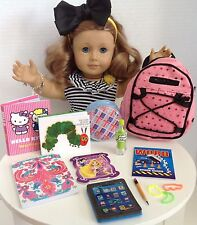 "Sequin Backpack & School Supplies for American Girl Doll 18"" Accessories SET"