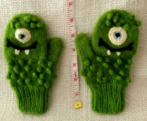 Andes Gifts Toddler One Eye Green Monster Mittens Alpaca/Acrylic
